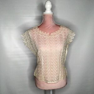 No name vintage lace top made in Switzerland.
